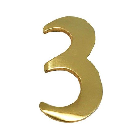 Addresses of Distinction 2-Inch Brass Mailbox Number 3 – Self Adhesive Floating #3 –Numbering for Address Plaque, Home, Door, & Business