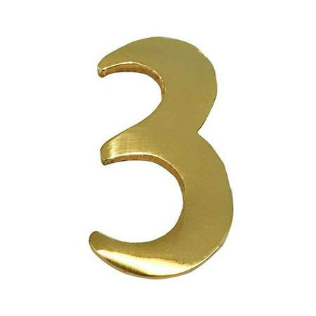 Safari Door Plaque - Addresses of Distinction 2-Inch Brass Mailbox Number 3 – Self Adhesive Floating #3 –Numbering for Address Plaque, Home, Door, & Business