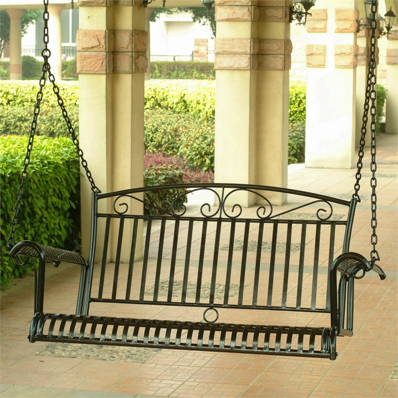 International Caravan Tropico Iron Patio Porch Swing in B...