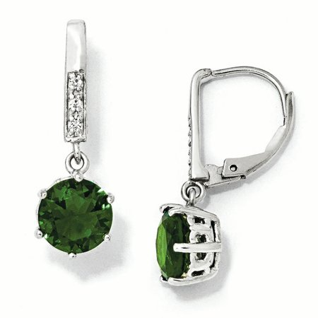 Cheryl M Sterling Silver Glass Simulated Emerald & CZ Leverback Earrings QCM382 - image 2 of 2