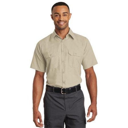SY60 Short Sleeve Solid Ripstop Shirt, Khaki - Large