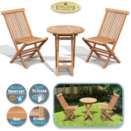 Sunrise 3 Pieses Folding Table and Chairs Teak Wood Patio Bistro Sets, Outdoor Patio Furniture Set, 2 Chairs and 1 Table, Gold
