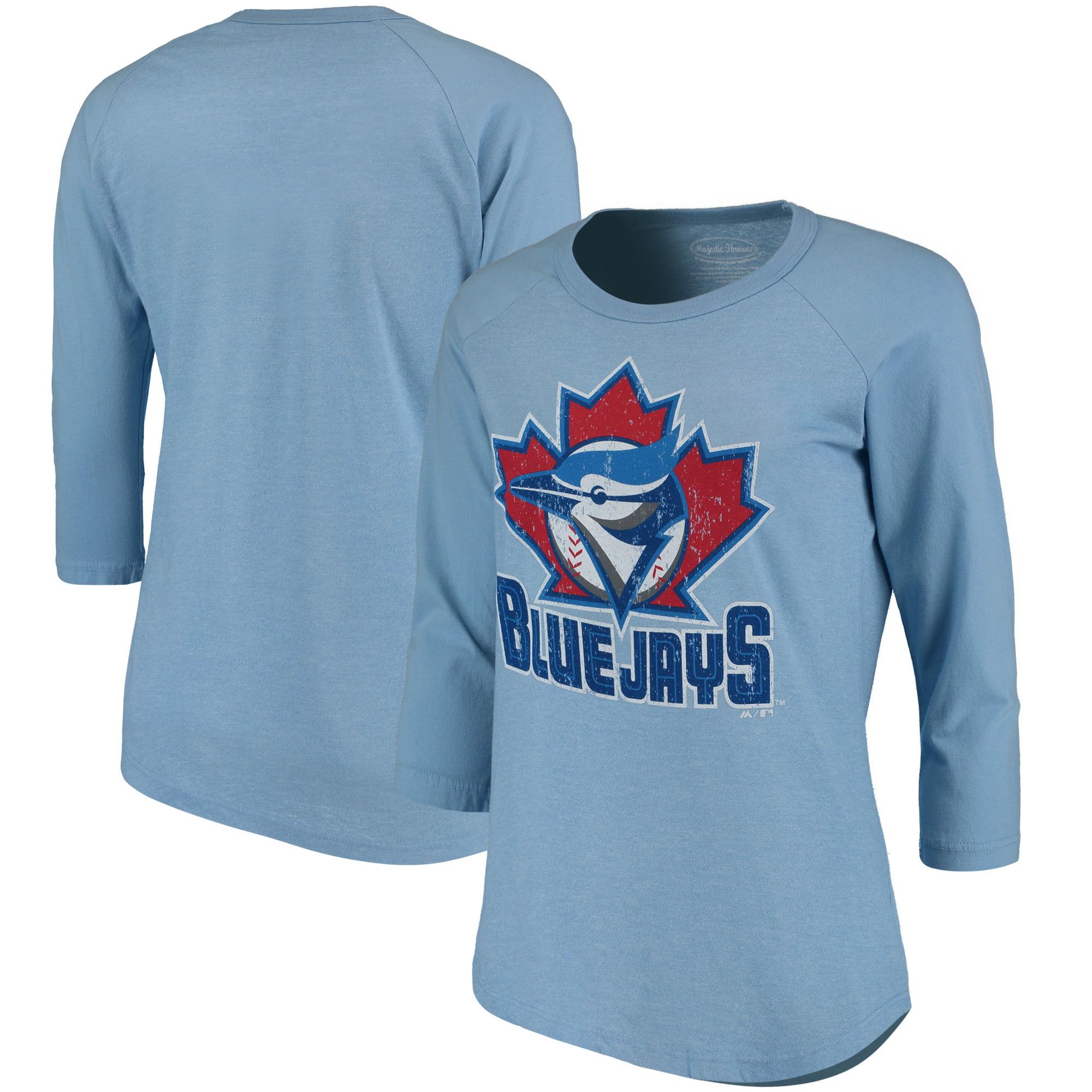 Toronto Blue Jays Majestic Threads Women's Cooperstown Collection Raglan Three-Quarter Sleeve T-Shirt - Light Blue