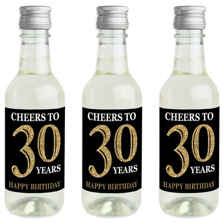 Adult 30th Birthday - Gold - Mini Wine and Champagne Bottle Label Stickers - Birthday Party Favor Gift for Women and Men - Wine Party Favors