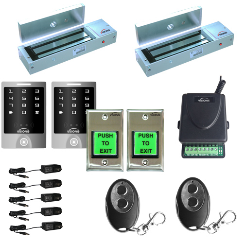 FPC-5159 Two Door Access Control Outswinging Door 1200lbs Electromagnetic Lock with Visionis Wireless Remote and Visionis Outdoor Keypad Kit