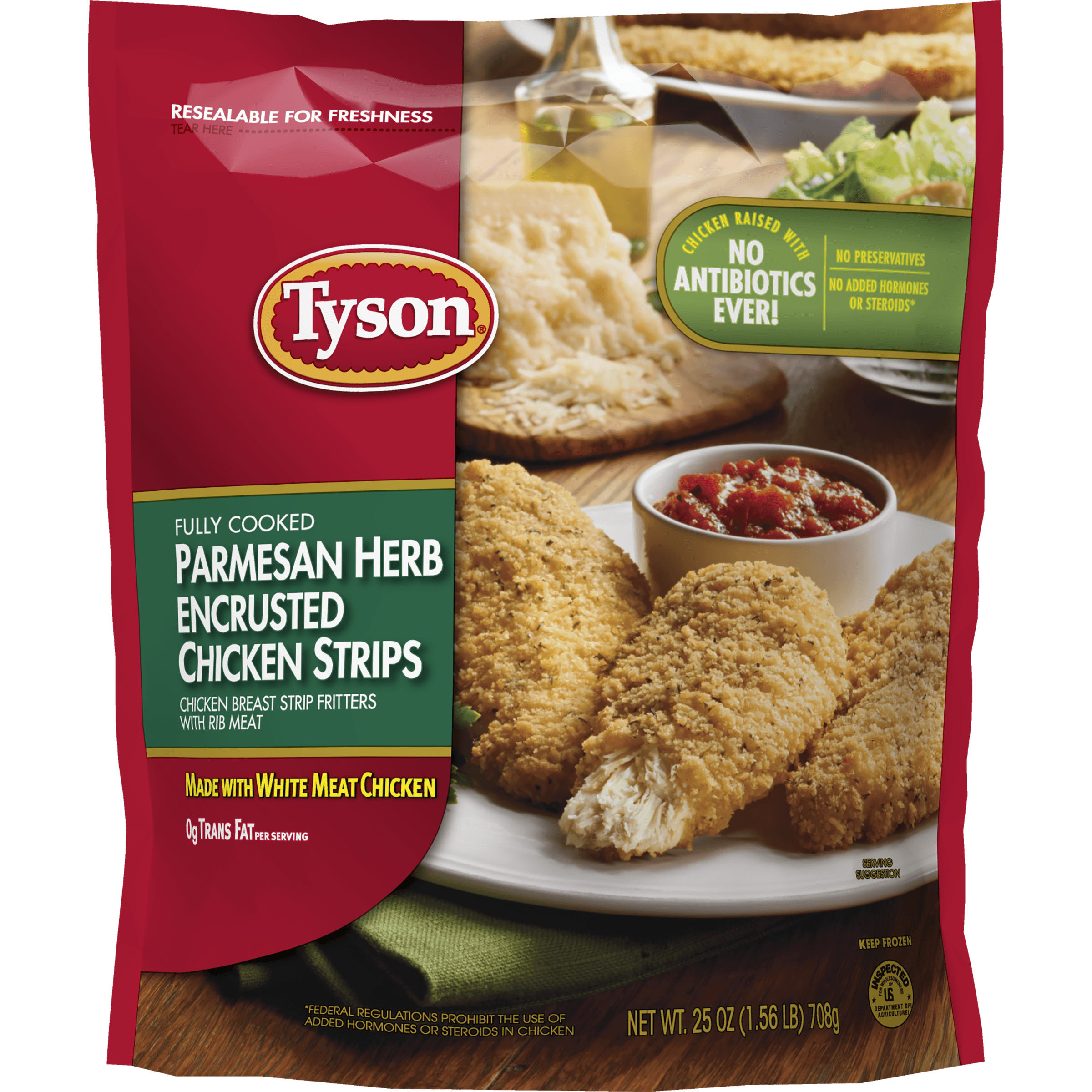 Tyson® Fully Cooked Parmesan Herb Crispy Chicken Strips, 25 oz. (Frozen)