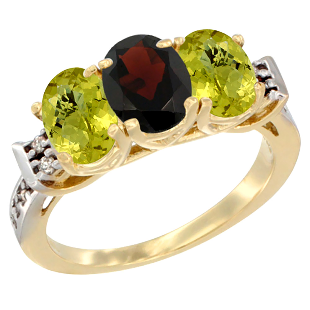 10K Yellow Gold Natural Garnet & Lemon Quartz Sides Ring 3-Stone Oval 7x5 mm Diamond Accent, sizes 5 10 by WorldJewels