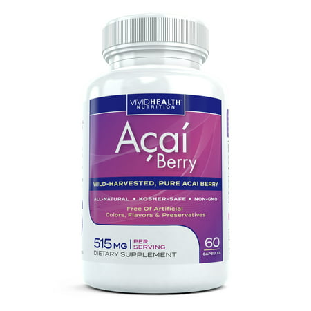 All Natural Acai Berry Extract Supplement - High in Antioxidants to Support Detoxification & Weight Loss, 60