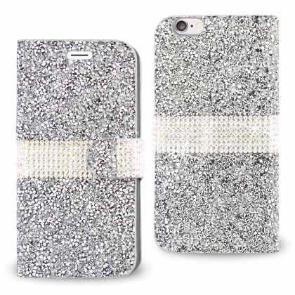 REIKO IPHONE 6 JEWELRY RHINESTONE WALLET CASE IN SILVER