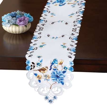 Birds Amp Floral Embroidered Spring Table Linens Runner