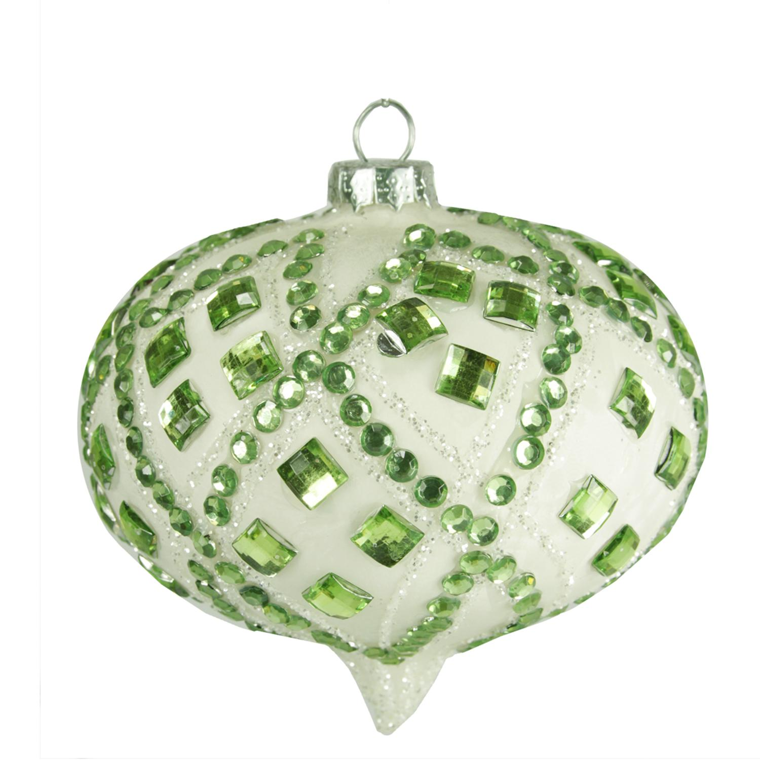"4"" Good Tidings Ivory with Pastel Green Gems Glass Onion Christmas Ornament"