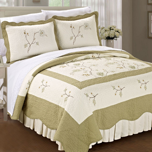 Serenta Spring Flowers 3 Piece Quilt Set