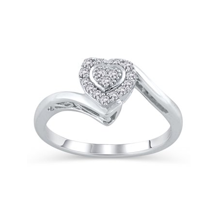 Diamond Accent Heart Ring (Diamond Accent Sterling Silver Heart Promise Ring )