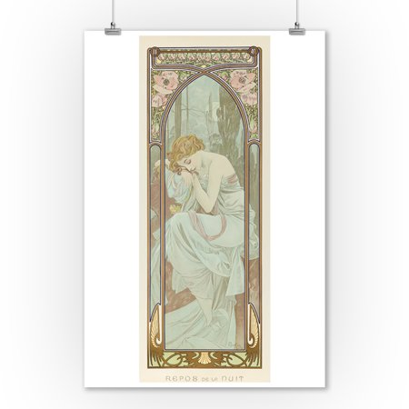 Times Of The Day   Night Vintage Poster  Artist  Mucha  Alphonse  France C  1899  9X12 Art Print  Wall Decor Travel Poster