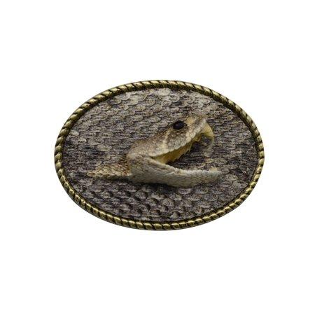 Eastern Diamondback Rattlesnake Head Hook&Loop Men's Belt Buckle Real (Money Belt Buckle)
