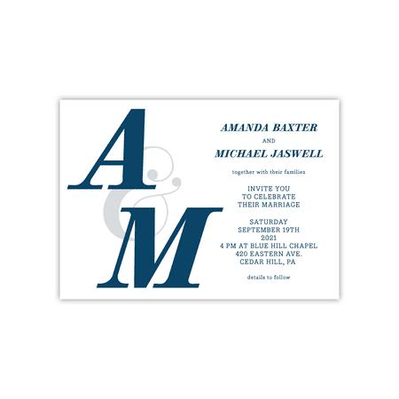 - Personalized Wedding Deluxe 5 x 7 Invite - Modern Monogram