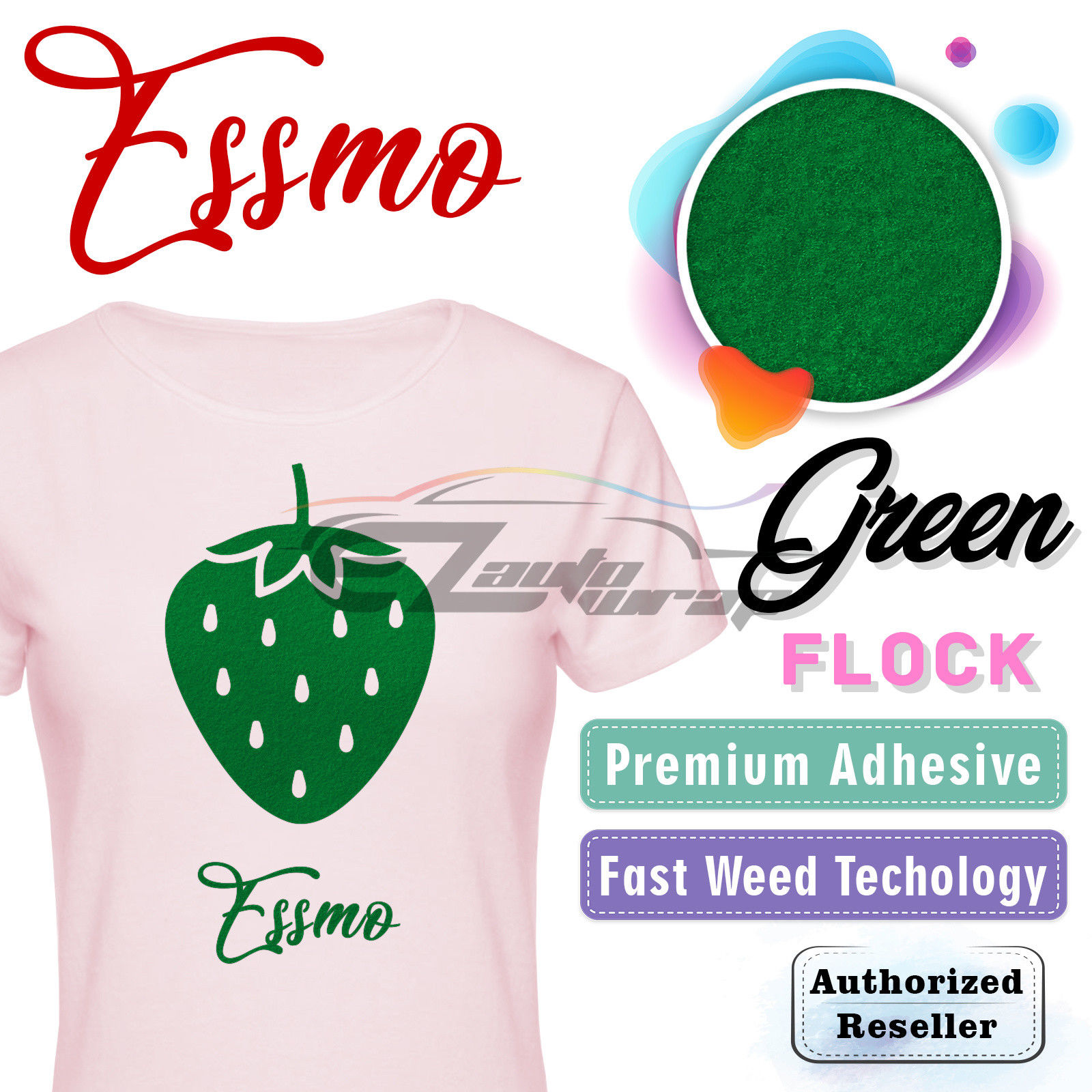 "ESSMO Green Flock Heat Transfer Vinyl HTV Sheet T-Shirt 20"" Wide Iron On Heat Press 20""x12"""