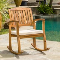 Sadie Acacia Rocking Chair with Cushion, Teak Finish