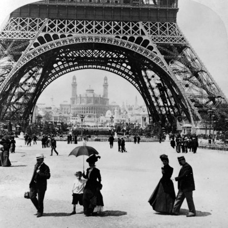 Looking Through the Base of the Eiffel Tower to the Trocadero and Colonial Station Print Wall Art