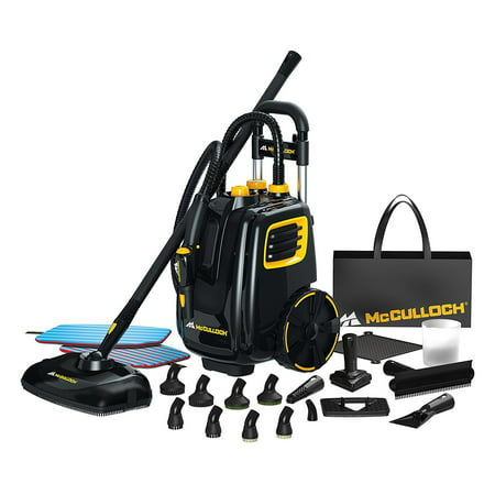McCulloch Deluxe Canister Steam Cleaner System w/ Pet Fresh Dry Carpet - Delex Stem