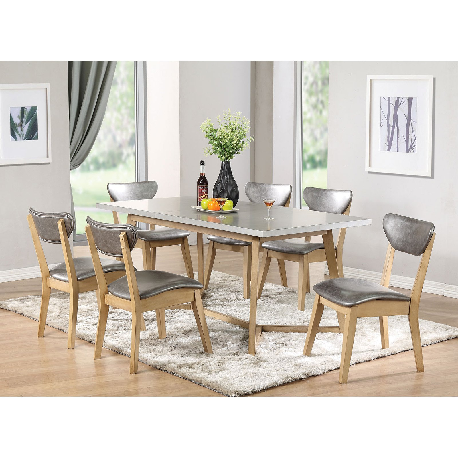 ACME Rosetta Dining Table, Light Gray & Antique Beige