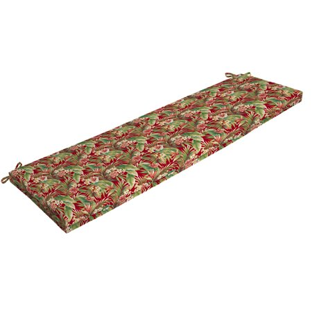 Mainstays Red Tropical Outdoor Patio Bench Cushion, 46 in. W x 17 in. D x 3 in. H ()