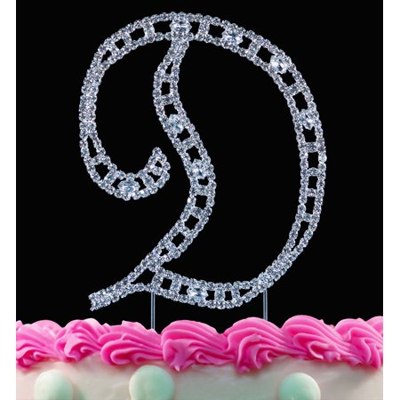 Yacanna Vintage Crystal Monogram Cake Toppers Silver Cake Initial D