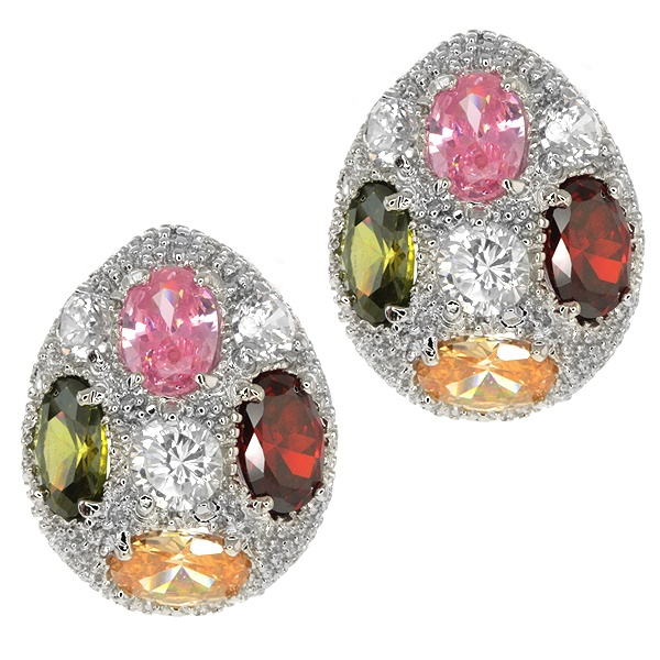 Stunning Half Egg Shell Earrings with Mult-Color Crystal & Omega Back (24x17mm)