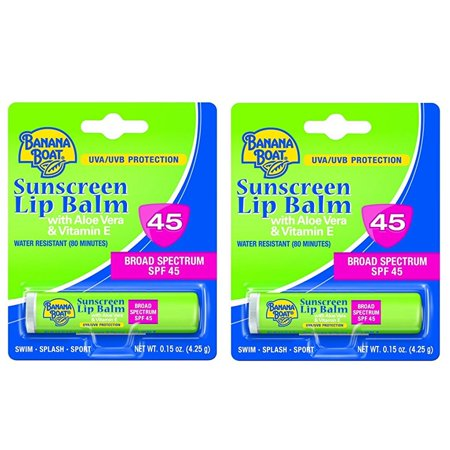 - Banana Boat with Aloe Vera and Vitamin E UVA/UVB Protection Sunscreen Lip Balm, Broad Spectrum SPF 45, 0.15 Oz (Pack of 2)