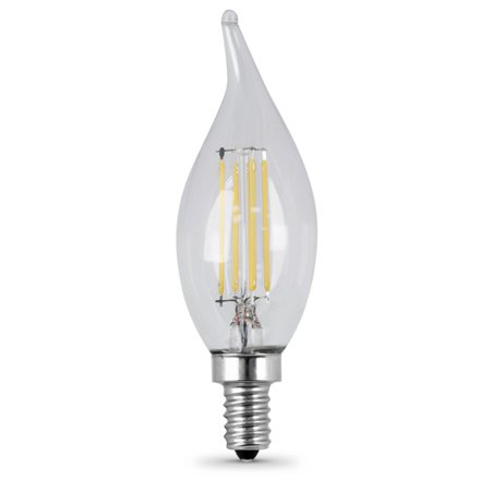 Feit Electric Dimmable Filament LED Candelabra Clear Decorative Light Bulb with Bent Tip - 2 pk.