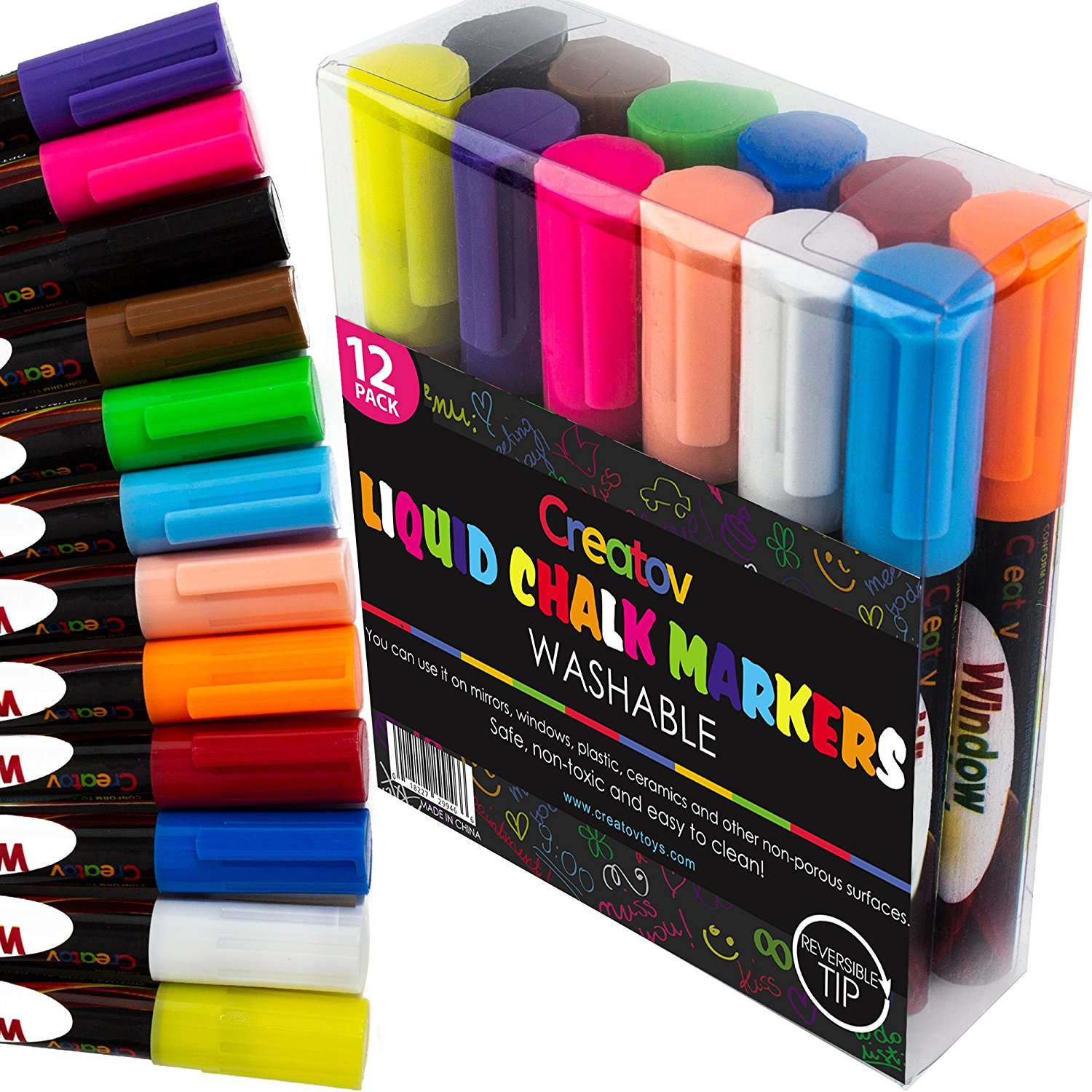 Liquid Chalk Window Markers 12 Colored Neon Safe Easy To Use Non Toxic Great For All Ages By Creatov Walmart Com Walmart Com
