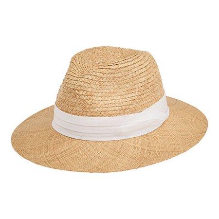 - Men's San Diego Hat Company Raffia Braid Fedora with Bao Straw Brim RHF6140