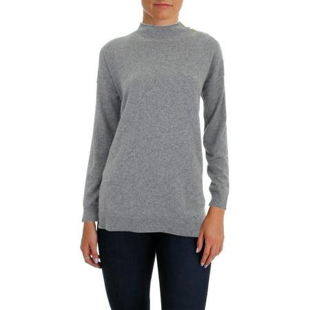100% Cashmere Turtleneck Sweater (Lauren Ralph Lauren Womens Lia Cashmere Button Shoulder Mock Turtleneck Sweater)