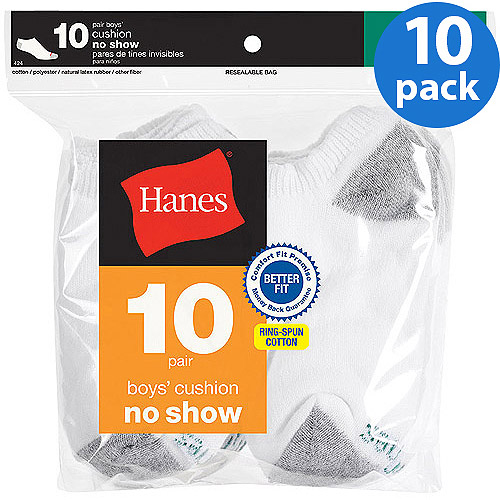 Hanes Boys' No Show Socks, Pack 10