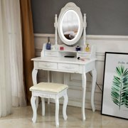 Ktaxon Elegance White Dressing Table Vanity Table and Stool Set Wood Makeup Desk with 4 Drawers & Lighted LED Touch Screen Mirror