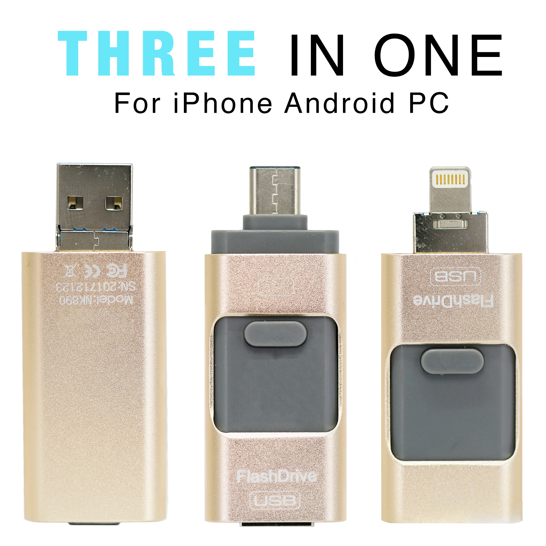 3 in1 (Type C & Lightning & USB3.0) i Flash Drive for Apple iOS & Android & Computers (64GB) Black