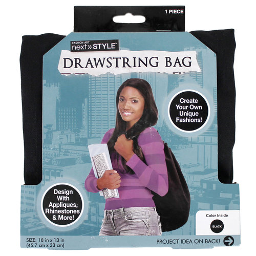 Next Style Canvas Drawstring Bag, Black