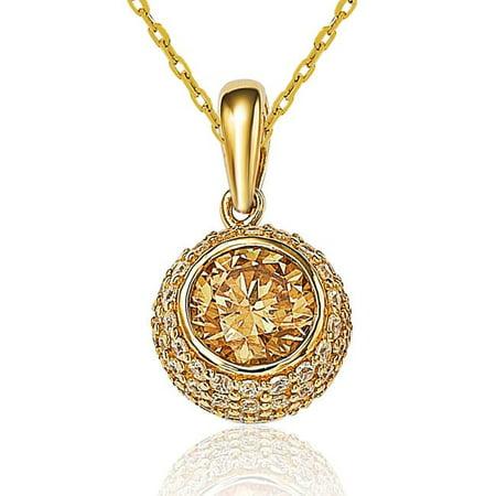 0124e2bf8e2c1 Suzy Levian Golden Cubic Zirconia Sterling Silver Chocolate Ball Pendant  Necklace