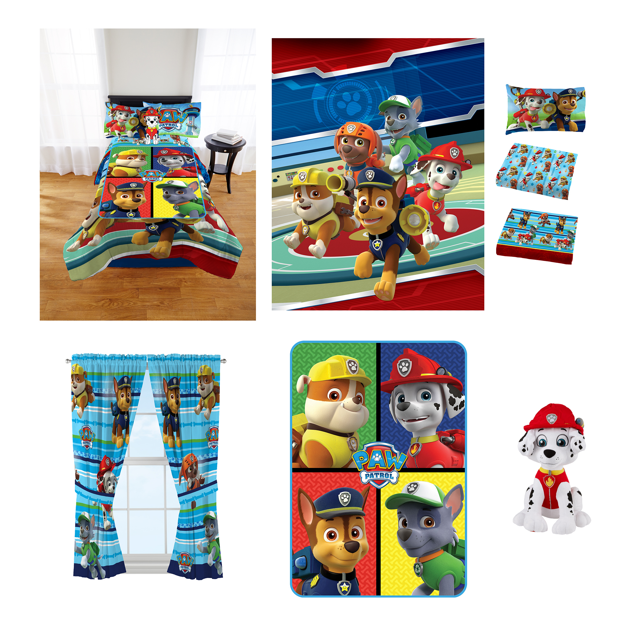Paw Patrol Puppy Hero Room In A Bag Comes With Twin Comforter Pillow Buddy Sheet Set Curtains And Blanket Walmart Com Walmart Com