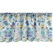 """Ambesonne Baby Window Valance, Newborn Sleep Crescent Moon Pacifier Nursery Star Polka Dots Image, Curtain Valance for Kitchen Bedroom Decor with Rod Pocket, 54"""" X 12"""", Pale Violet Blue Yellow"""