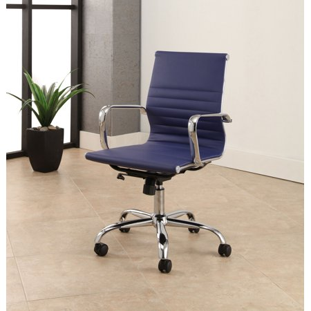 Devon & Claire Grayson Silver Finish Leather Office Chair, Navy