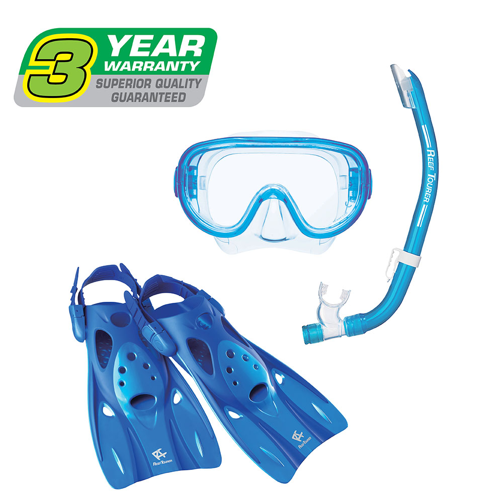Reef Tourer Adult Single-Window Mask, Snorkel & Fin Traveling Set by Tabata USA, Inc.