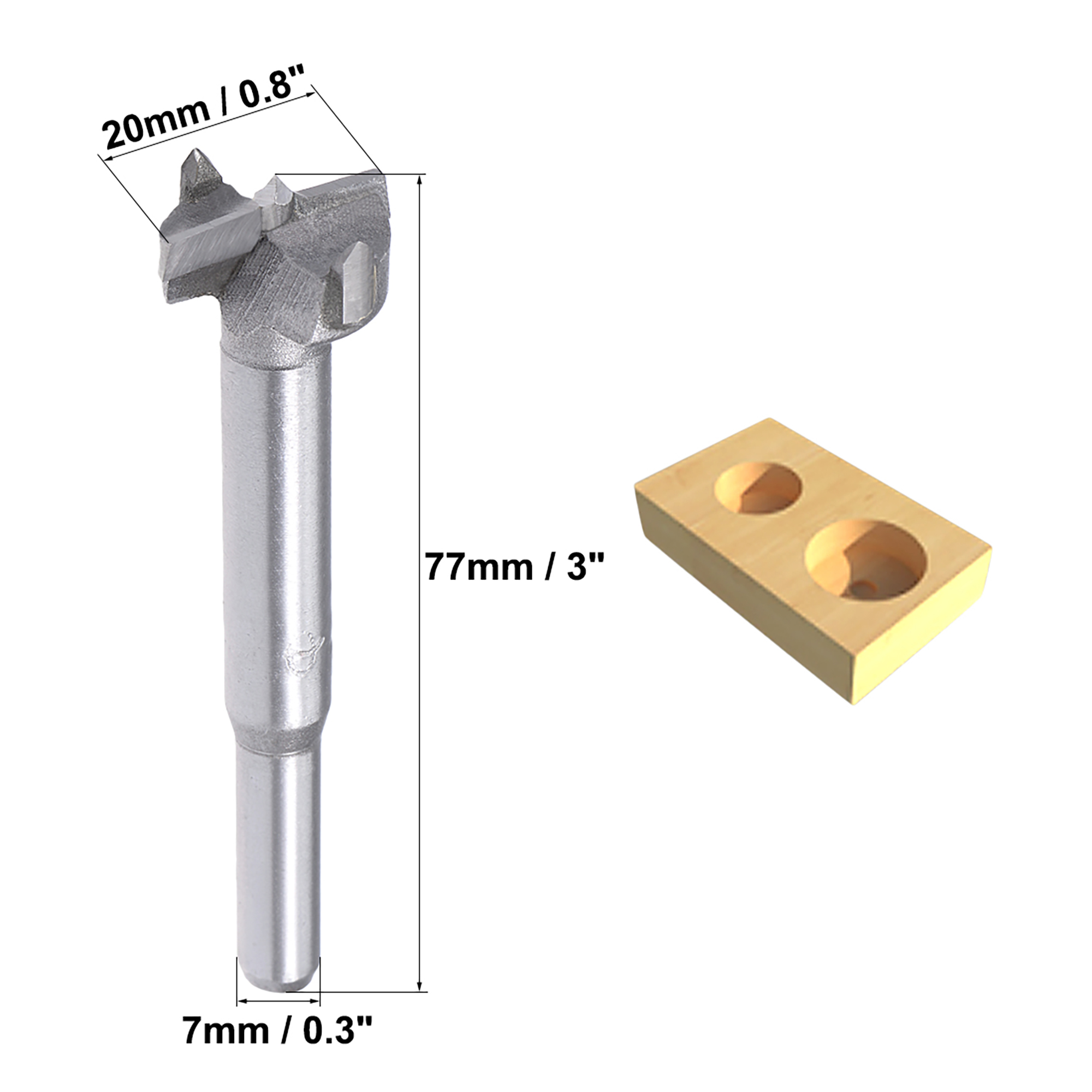 Forstner Wood Boring Drill Bit 20mm Dia Hole Saw Carbide Tip Round Shank Cutting for Hinge Plywood MDF CNC Tool - image 4 de 5