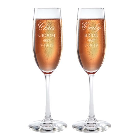 Personalized Bride and Groom Champagne Flutes - Groom Design Toasting Flutes