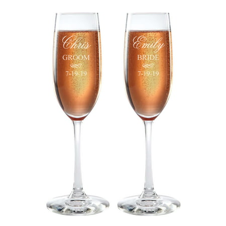 Personalized Bride and Groom Champagne Flutes - Engraved Wedding Flutes