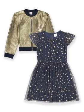 Wonder Nation Girls 4-18 & Plus Metallic Bomber and Glitter Tulle Dress, 2-Piece