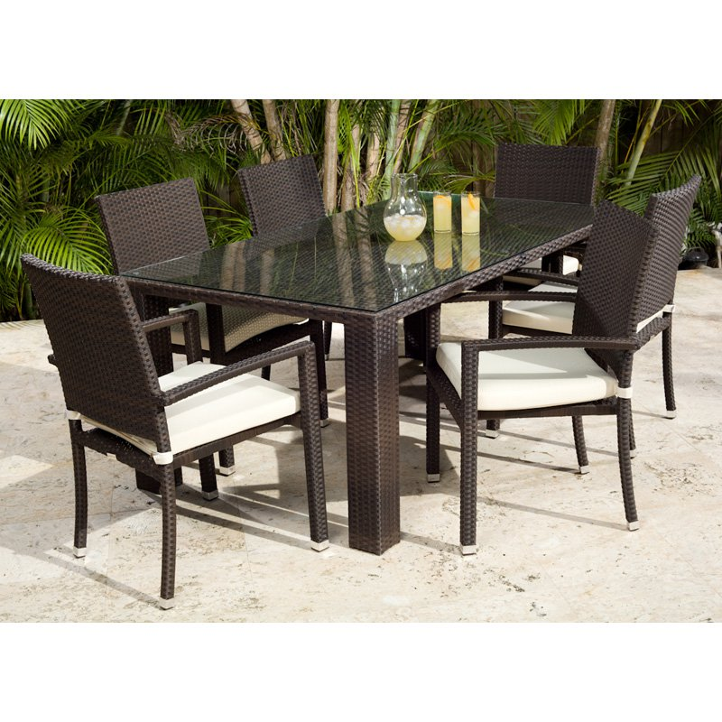 Source Outdoor Zen St. Tropez All-Weather Wicker Patio Dining Set - Seats 6