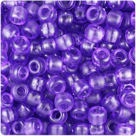 BeadTin Amethyst Frosted 9mm Barrel Pony Beads (500pc)