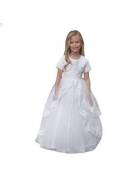 e73ac6d22fe Product Image Angels Garment Girls White Satin Lace Heart Cut-Out Communion  Dress