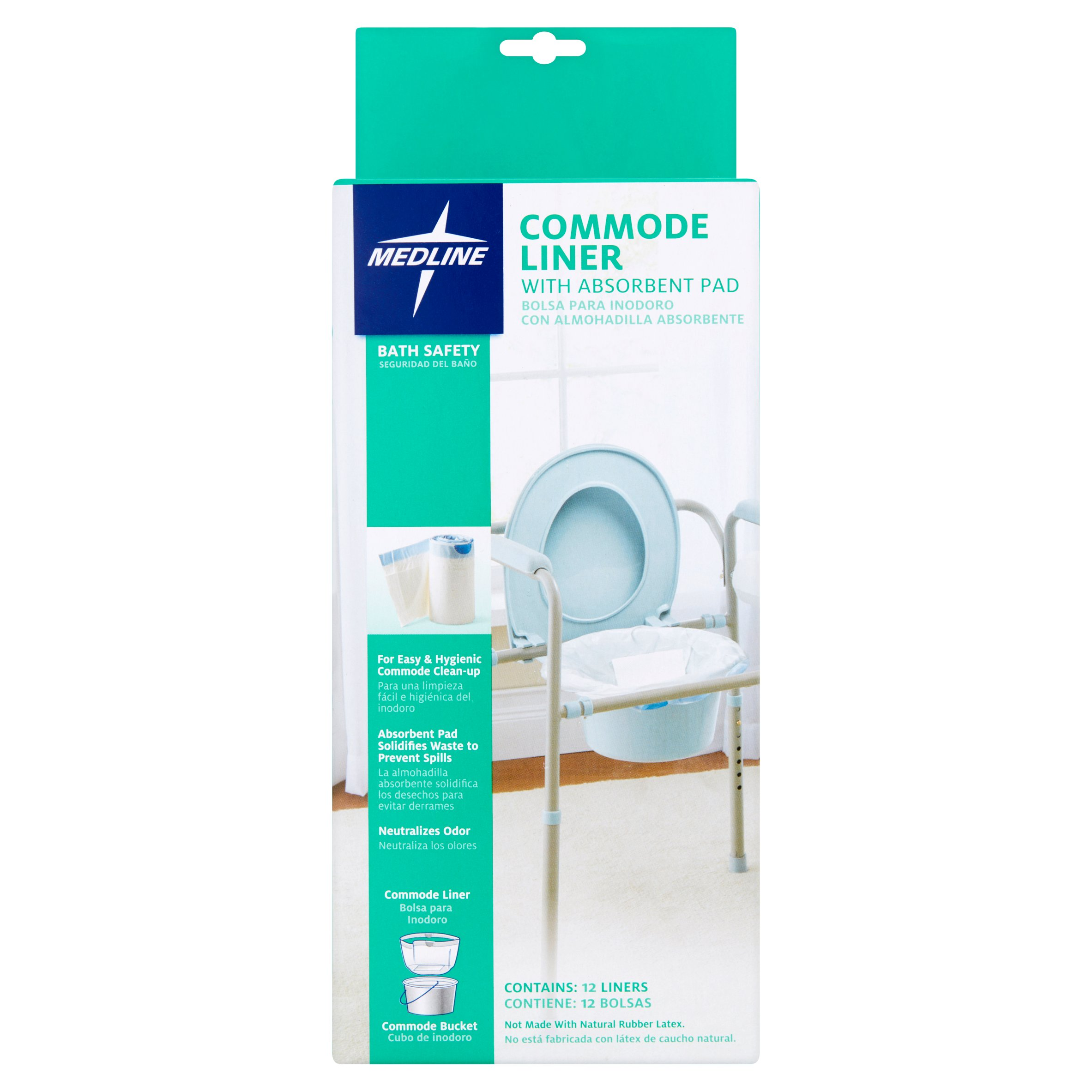 Medline Commode Liner with Absorbent Pad, 12 count